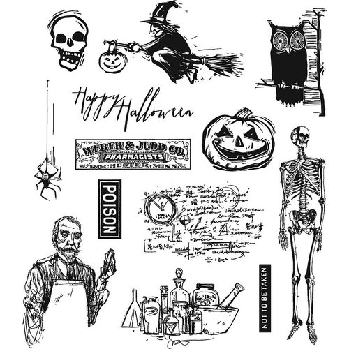 Stampers Anonymous - Tim Holtz - Cling Mounted Rubber Stamp Set - Mini Halloween 4