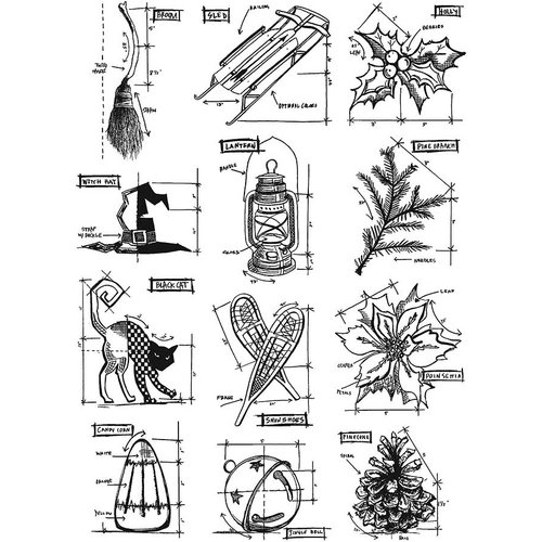 Stampers Anonymous - Tim Holtz - Cling Mounted Rubber Stamp Set - Mini Blueprints 7
