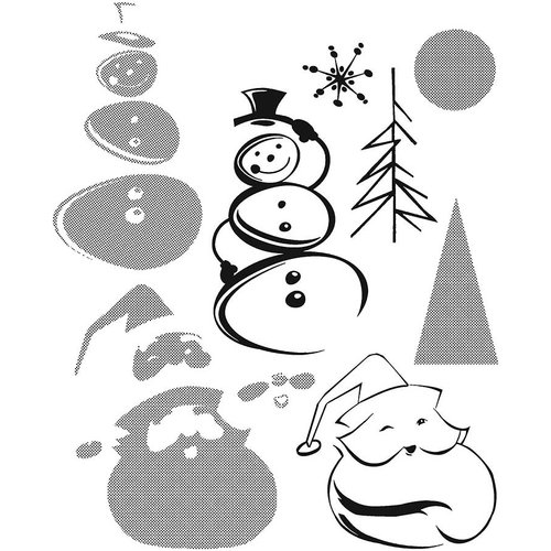 Stampers Anonymous - Tim Holtz - Cling Mounted Rubber Stamp Set - Halftone Christmas