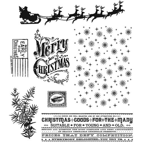 Stampers Anonymous - Tim Holtz - Cling Mounted Rubber Stamp Set - Christmas Nostalgia