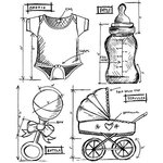 Stampers Anonymous - Tim Holtz - Cling Mounted Rubber Stamp Set - Baby Blueprint