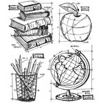 Stampers Anonymous - Tim Holtz - Cling Mounted Rubber Stamp Set - Schoolhouse Blueprint