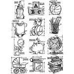 Stampers Anonymous - Tim Holtz - Cling Mounted Rubber Stamp Set - Mini Blueprints 8