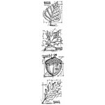 Stampers Anonymous - Tim Holtz - Cling Mounted Rubber Stamp Set - Mini Blueprint Strip - Autumn