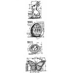 Stampers Anonymous - Tim Holtz - Cling Mounted Rubber Stamp Set - Mini Blueprint Strip - Easter
