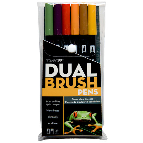 Tombow - Dual Brush Pen - 6 Color Set - Secondary