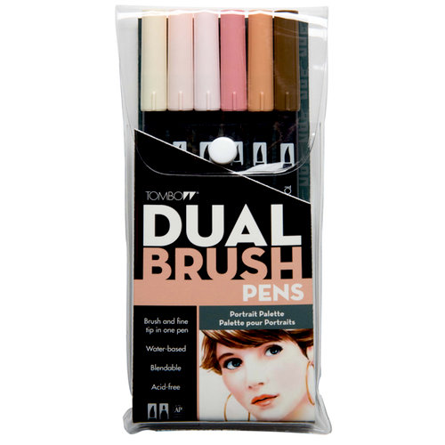 Tombow - Dual Brush Pen - 6 Color Set - Portrait