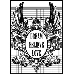 Teresa Collins - Cling Mounted Rubber Stamps - Dream, Believe, Love, CLEARANCE