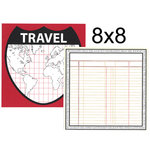 Teresa Collins - Travelogue Collection - 8 x 8 Double Sided Paper - Travel Map, CLEARANCE