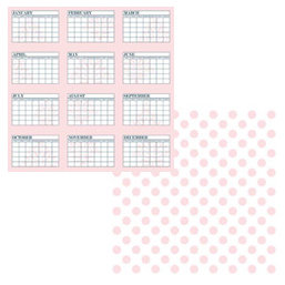 Teresa Collins - Journal-it Girl Collection - 12 x 12 Double Sided Paper - Calendar