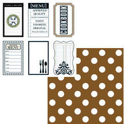 Teresa Collins - Haute Cuisine Collection - 12 x 12 Double Sided Paper - Cookbook Tags, CLEARANCE