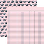 Teresa Collins - Chic Bebe Girl Collection - 12 x 12 Double Sided Paper - Ledger, BRAND NEW