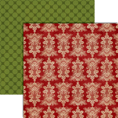 Teresa Collins - Christmas Cottage Collection - 12 x 12 Double Sided Paper - Doily Tree