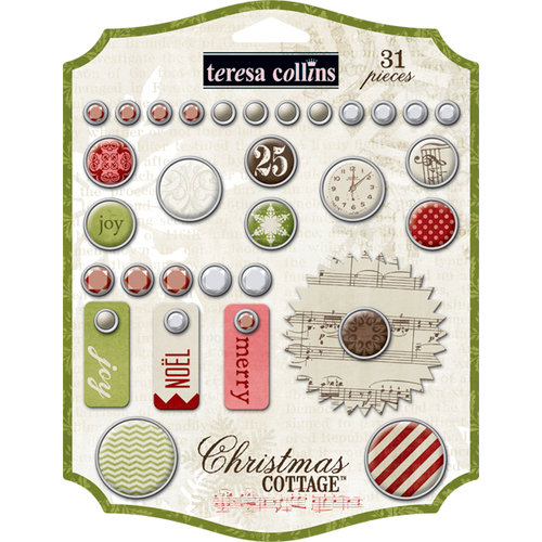 Teresa Collins - Christmas Cottage Collection - Decorative Brads