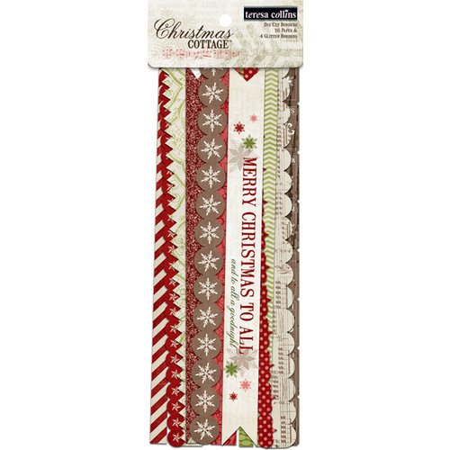 Teresa Collins - Christmas Cottage Collection - Border Strips with Glitter Accents