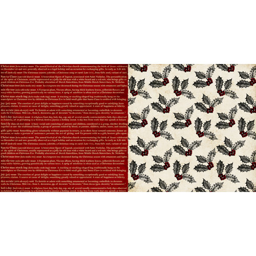 Teresa Collins - Noel Collection - Christmas - 12 x 12 Double Sided Paper - Definitions
