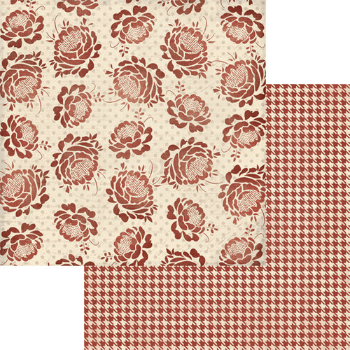 Teresa Collins Designs - Now And Then Collection - 12 x 12 Double Sided Paper - Red Flower