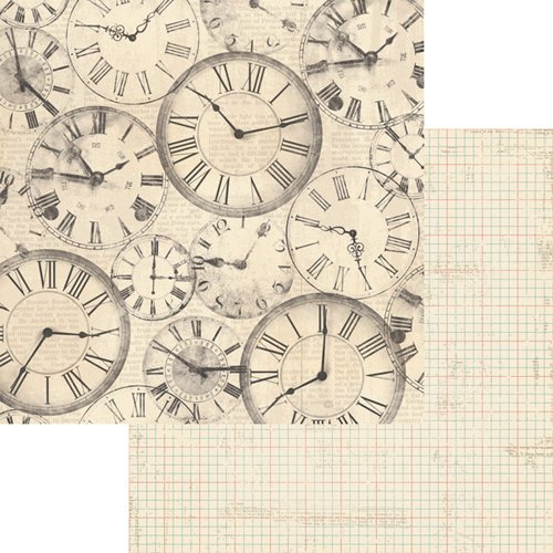 Teresa Collins - Now And Then Collection - 12 x 12 Double Sided Paper - Clocks