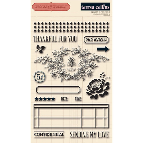 Teresa Collins - Now And Then Collection - Clear Acrylic Stamps