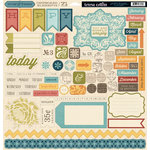 Teresa Collins - Now And Then Collection - 12 x 12 Die Cut Chipboard Stickers - Elements
