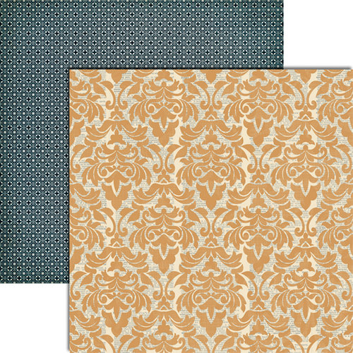 Teresa Collins - Vintage Finds Collection - 12 x 12 Double Sided Paper - Orange Damask