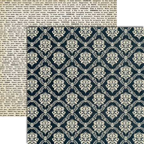Teresa Collins - Vintage Finds Collection - 12 x 12 Double Sided Paper - Black Damask