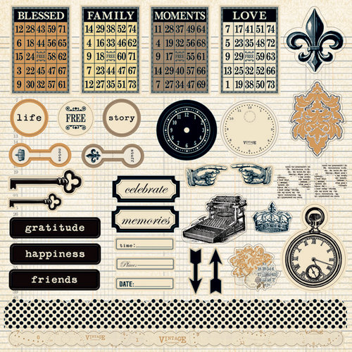 Teresa Collins - Vintage Finds Collection - 12 x 12 Die Cut Paper
