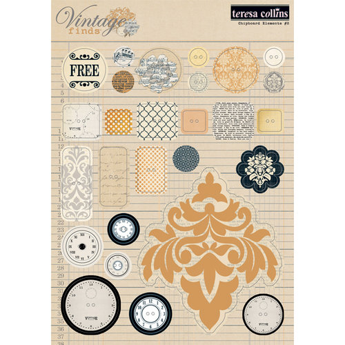 Teresa Collins - Vintage Finds Collection - Die Cut Chipboard Stickers - Elements 2