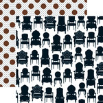 Teresa Collins - Welcome Home Collection - 12 x 12 Double Sided Paper - Chairs, BRAND NEW