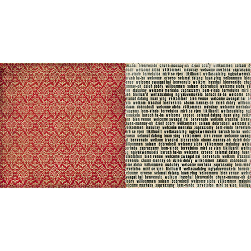 Teresa Collins - World Traveler Collection - 12 x 12 Double Sided Paper - Red Brocade