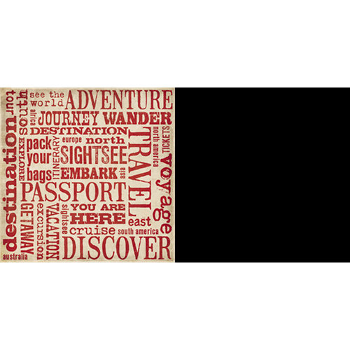 Teresa Collins - World Traveler Collection - 12 x 12 Double Sided Paper - Words