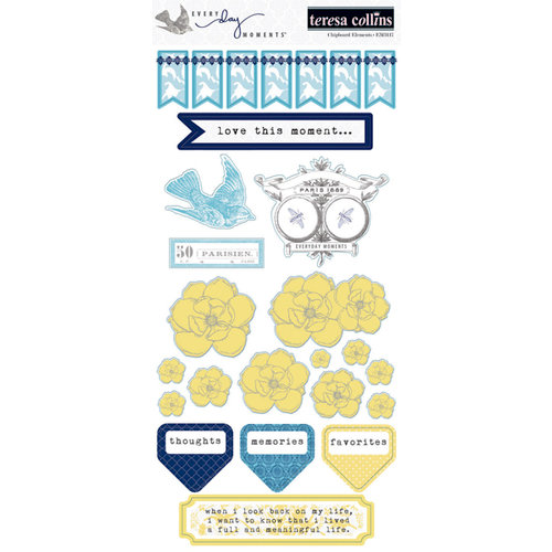 Teresa Collins - Everyday Moments Collection - Die Cut Chipboard Stickers - Elements