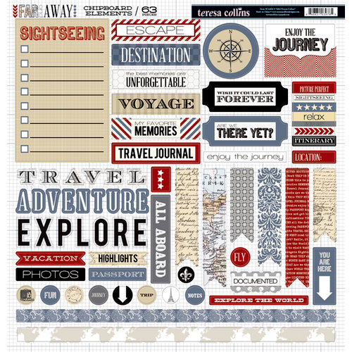 Teresa Collins - Far and Away Collection - 12 x 12 Die Cut Chipboard Stickers - Elements