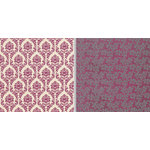 Teresa Collins - Fabrications Collection - Canvas - 12 x 12 Double Sided Paper - Plum Damask