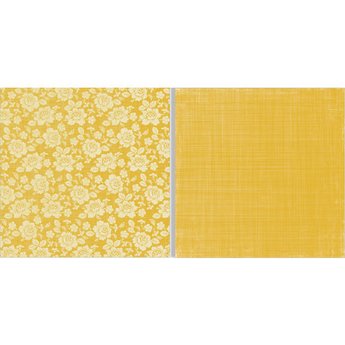 Teresa Collins - Fabrications Collection - Canvas - 12 x 12 Double Sided Paper - Yellow Flower
