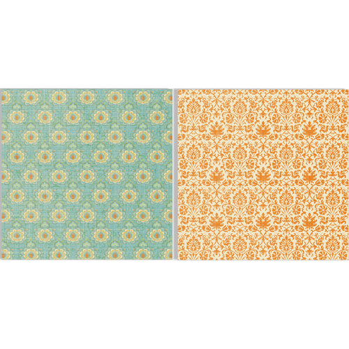 Teresa Collins - Fabrications Collection - Canvas - 12 x 12 Double Sided Paper - Orange Tapestry