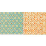 Teresa Collins Designs - Fabrications Collection - Canvas - 12 x 12 Double Sided Paper - Orange Tapestry