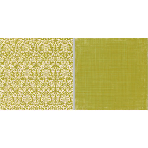 Teresa Collins - Fabrications Collection - Canvas - 12 x 12 Double Sided Paper - Green Damask