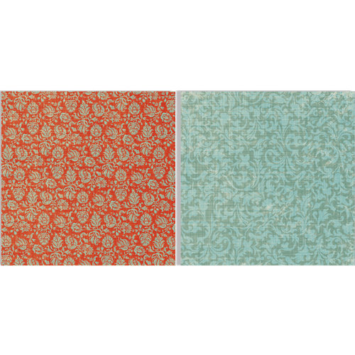 Teresa Collins - Fabrications Collection - Canvas - 12 x 12 Double Sided Paper - Petite Flowers