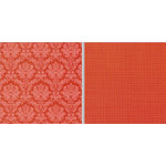 Teresa Collins - Fabrications Collection - Canvas - 12 x 12 Double Sided Paper - Red Brocade