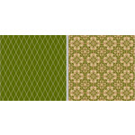 Teresa Collins - Fabrications Collection - Linen - 12 x 12 Double Sided Paper - Green Diamond