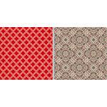 Teresa Collins - Fabrications Collection - Linen - 12 x 12 Double Sided Paper - Red Quatrefoil