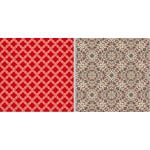 Teresa Collins Designs - Fabrications Collection - Linen - 12 x 12 Double Sided Paper - Red Quatrefoil