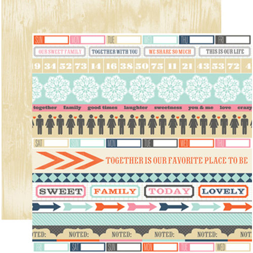 Teresa Collins - Family Stories Collection - 12 x 12 Double Sided Paper - Noted