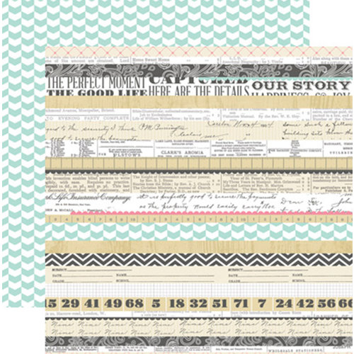 Teresa Collins Designs - Family Stories Collection - 12 x 12 Double Sided Paper - Multi Stripe
