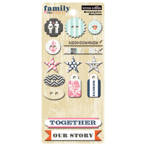 Teresa Collins Designs - Family Stories Collection - Chipboard Buttons