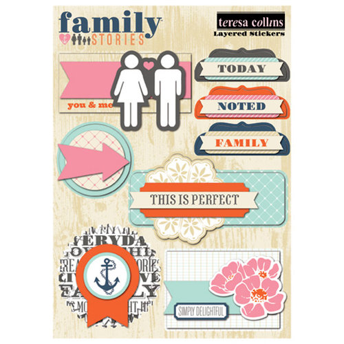Teresa Collins Designs - Family Stories Collection - Layered Stickers