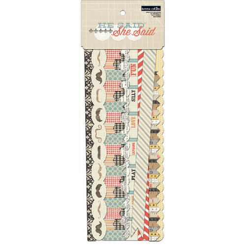 Teresa Collins - He Said She Said Collection - Border Strips with Glitter Accents