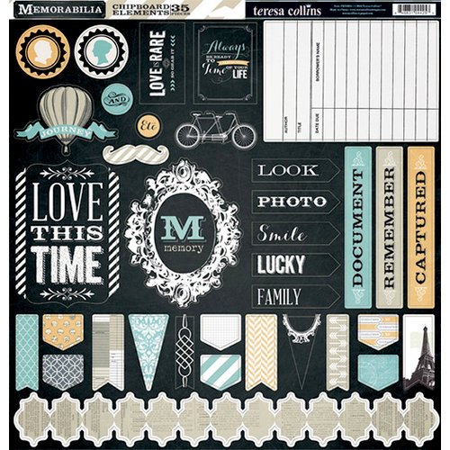 Teresa Collins - Memorabilia Collection - 12 x 12 Die Cut Chipboard Stickers