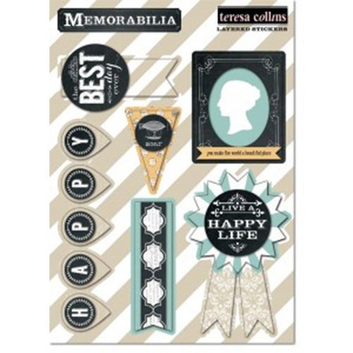Teresa Collins Designs - Memorabilia Collection - Layered Stickers